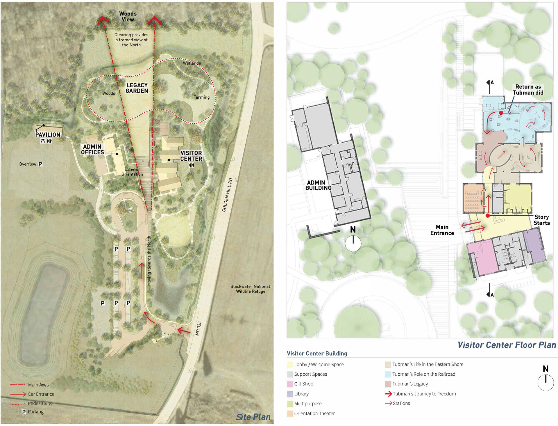 A site plan illustrates the two structures of the complex framing the view north and the pathways visitors can take within the memorial garden.