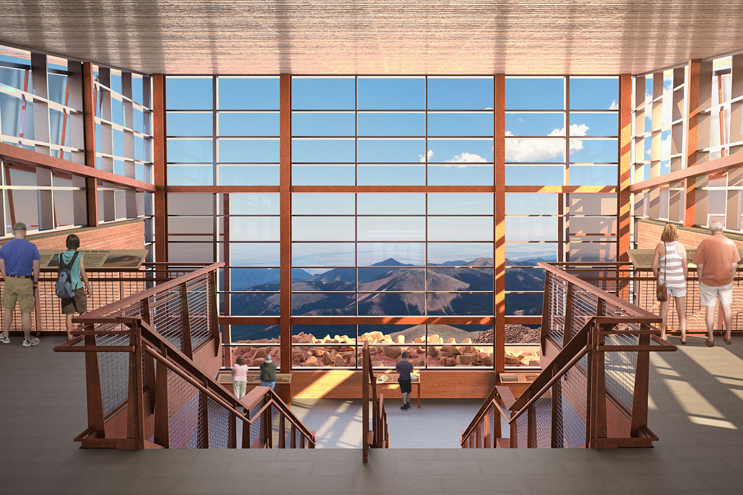 The boundless sky and perfectly framed views of Mt. Rosa draw visitors to the main floor of the Pikes Peak Visitor Center where they can access exhibits, dining, a gift shop, and restrooms.