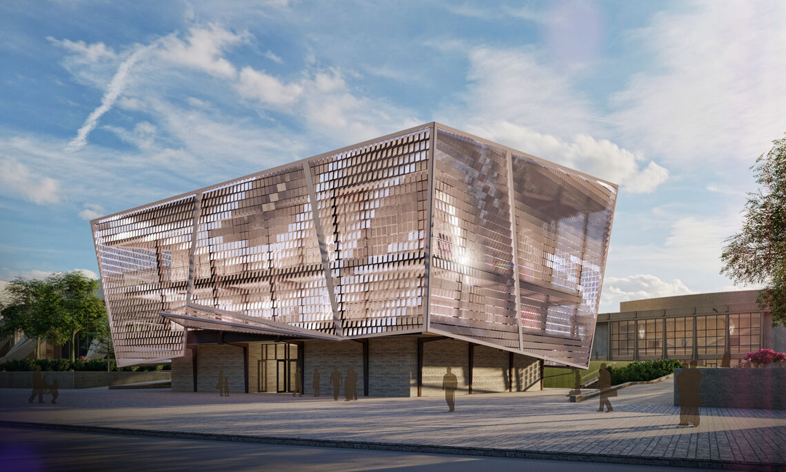 Conceptual render of Chrysler Recital Hall depicting the panelized skin which represents an orchestral movement.