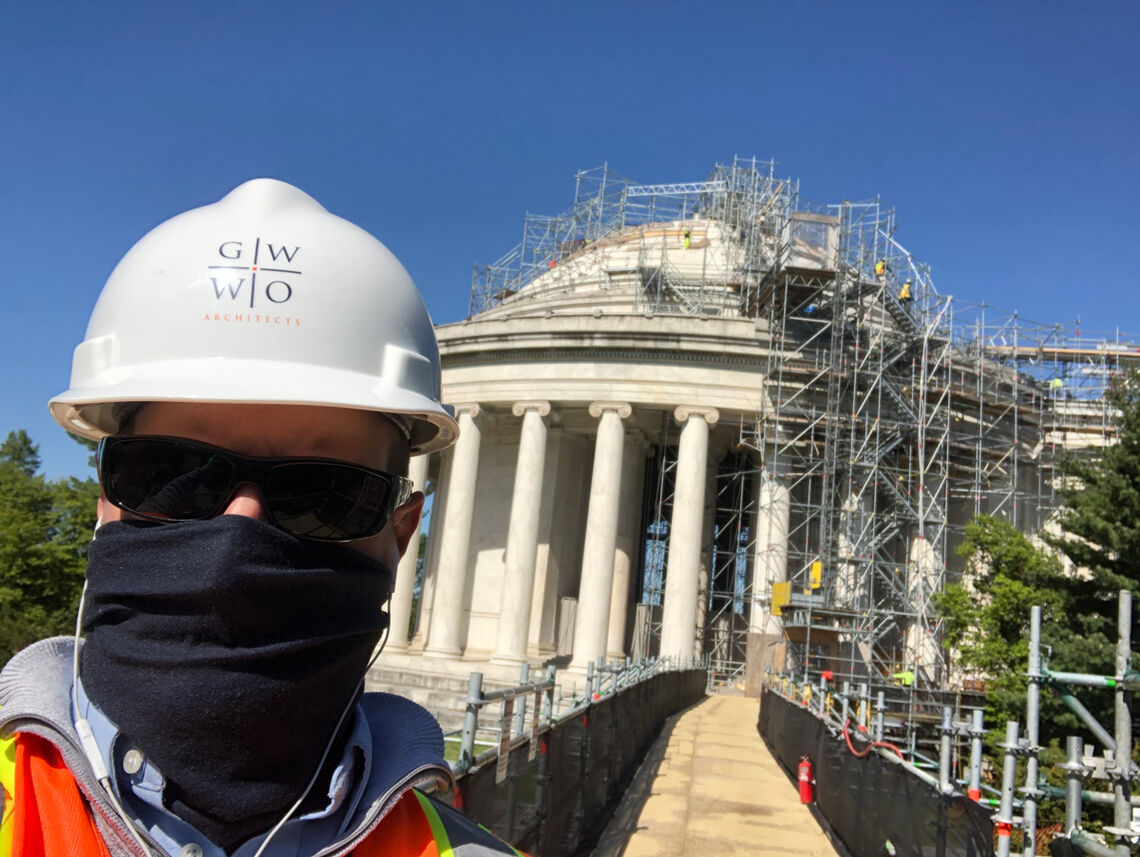John Gregg conducting a field visit at the Jefferson Memorial